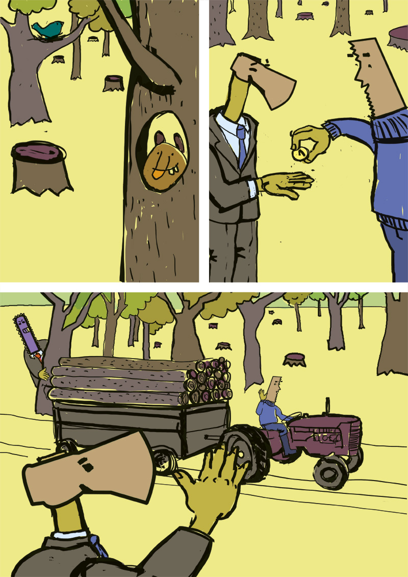 Comic about Forest, Trees are harvested from Forest