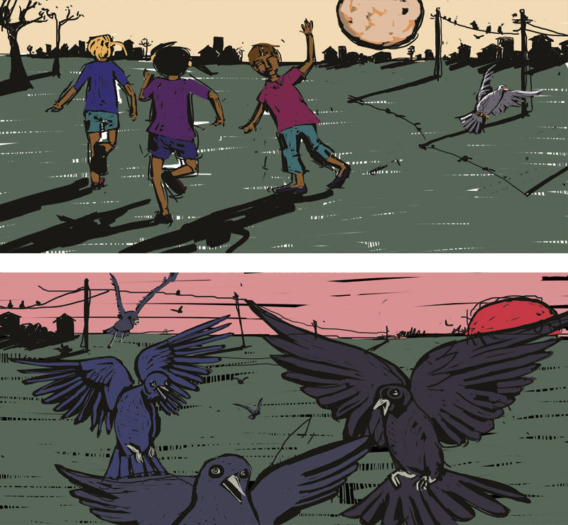 Comic 24h, Birds eating seeds, children running home