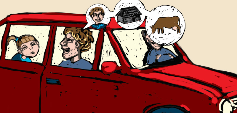 Comic story about country side, Car with passingers on the road