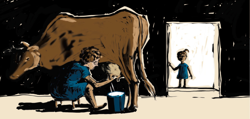 Comic story about country side, milking a cow by hand