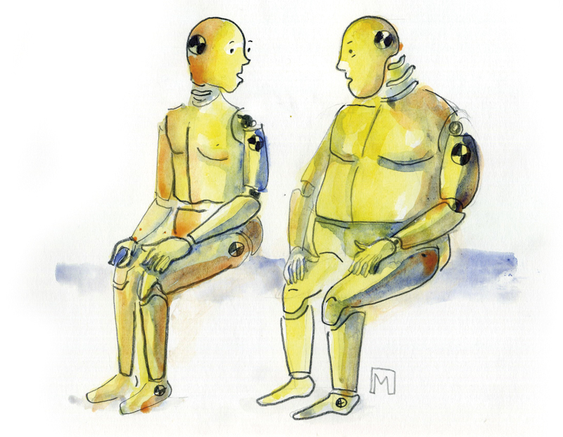 Overweight, crush test dummies, sitting